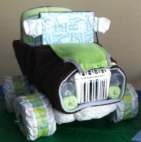 how to make a mini jeep diaper cake