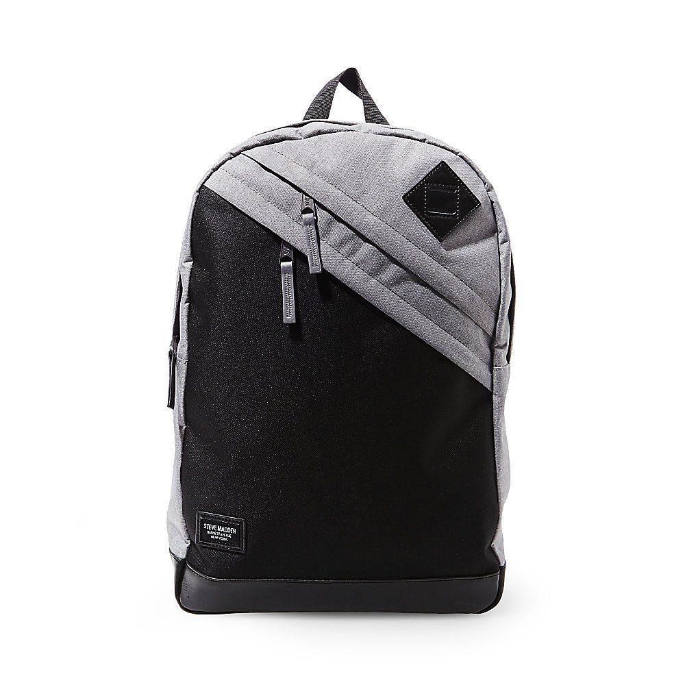 Steve Madden Men's Minimal Backpack, Grey. Pockets: 6 interior slip, 2 interior zip, 2 exterior.