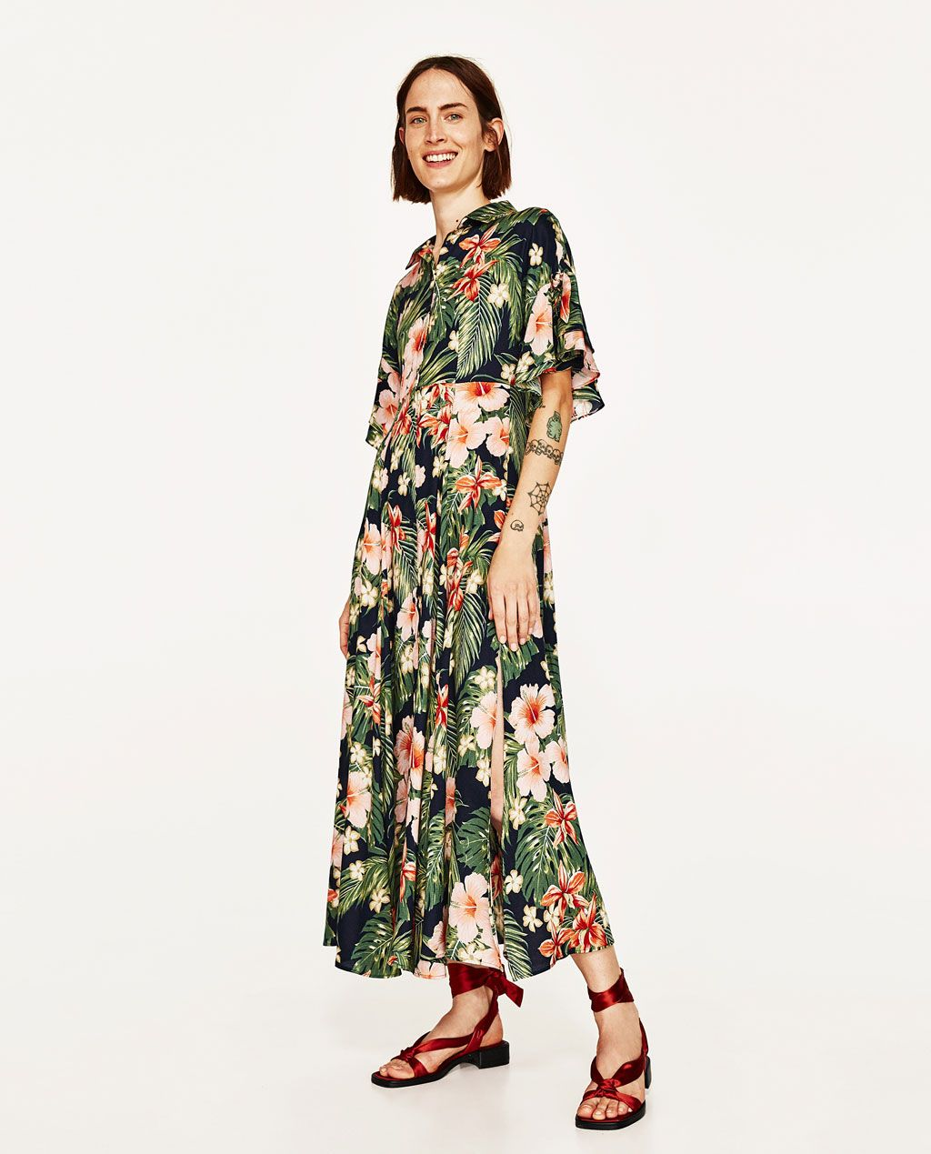 d7693073351d Image 1 of LONG FLORAL PRINT SHIRT DRESS from Zara. LONG FLORAL PRINT SHIRT  DRESS - NEW IN Casual Summer Dresses ...