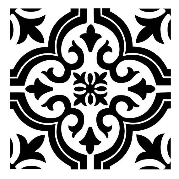 TILE18 Reusable Laser-Cut Floor, Fireplace, Step or Wall Tile Stencil #picturewallideas