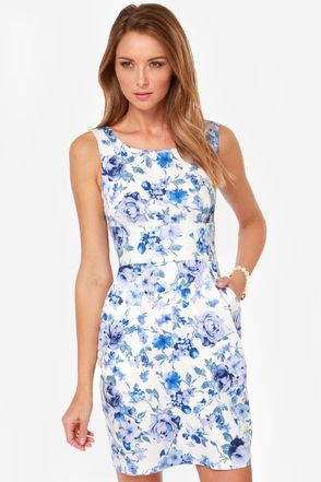 There She Rose Blue Floral Print Dress | Floral, Printing and ...