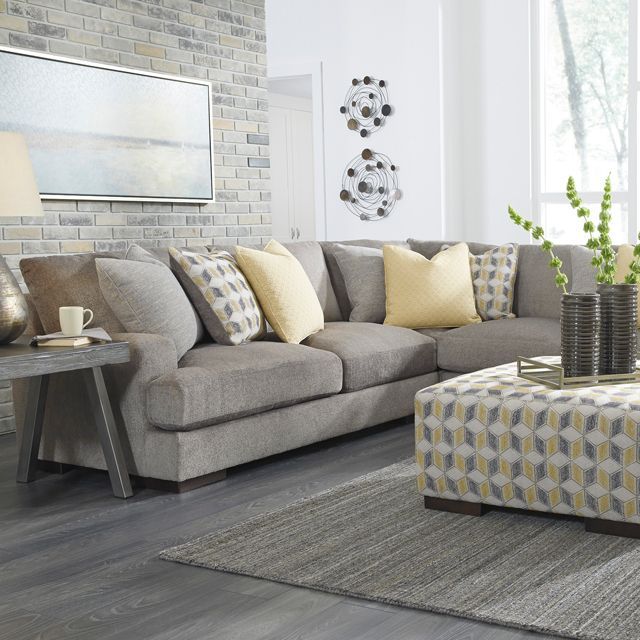 Contemporary Sofa with Corner Chase | Smoke Color | Throw ...
