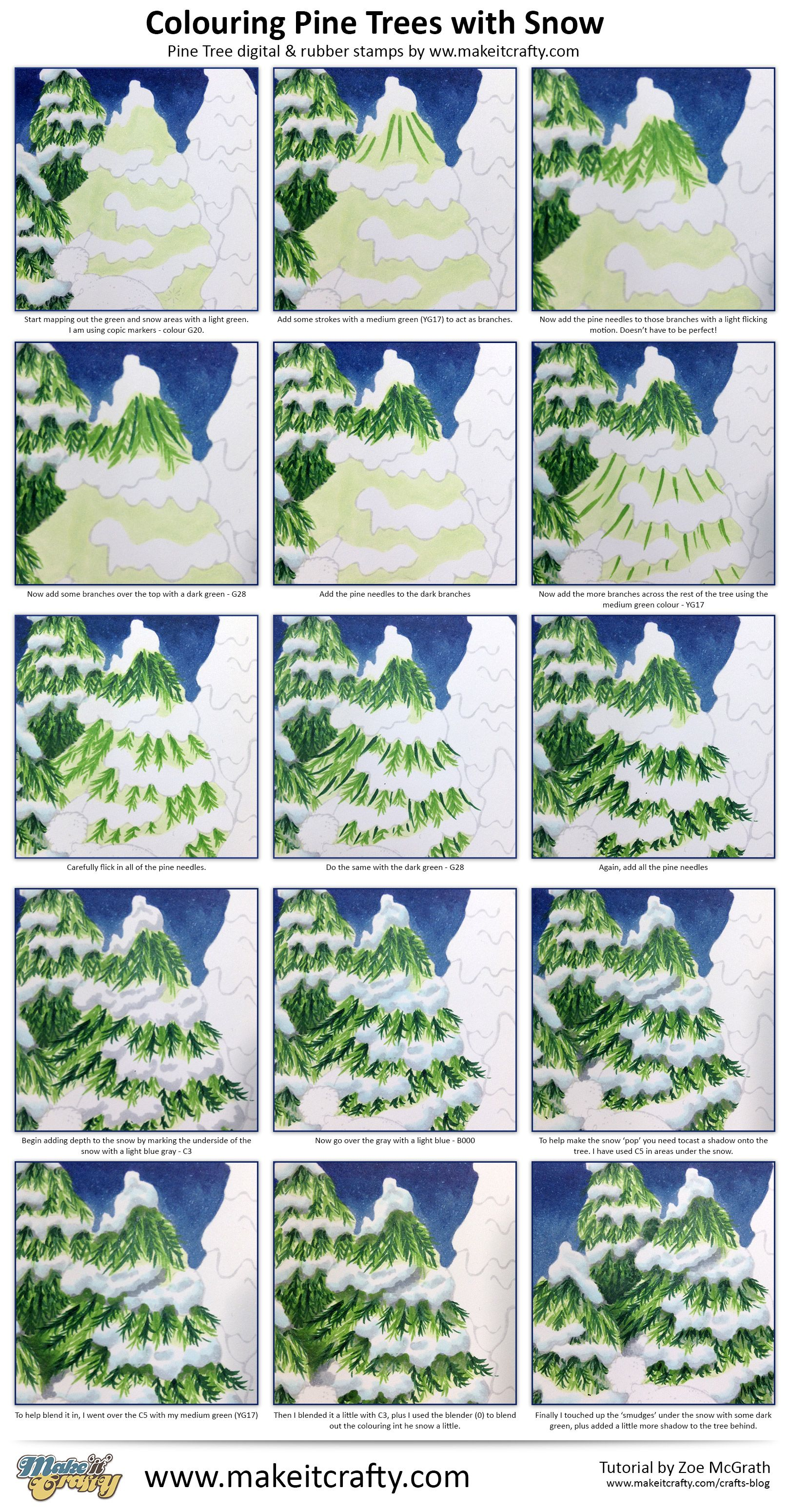 Coloring Pine Trees With Snow