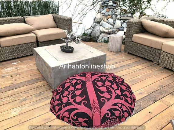 Mandala Elephant Cotton Tapestry Cushion Sham Bohemian Living Room Decorative Pouffe Footstools Floo