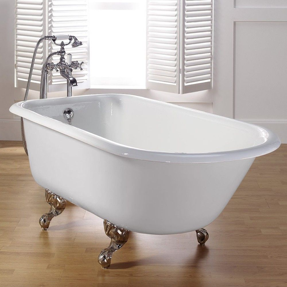Traditional Cast Iron Clawfoot Tub No Faucet Drillings With