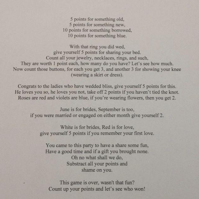Another Bridal Shower Poem Game