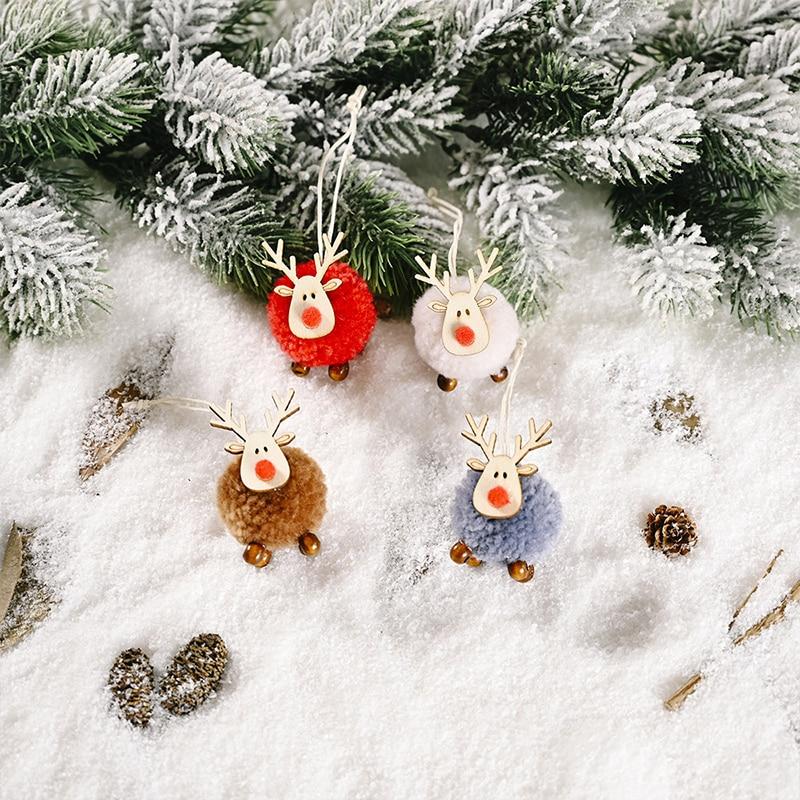 Cute Xmas Tree Pendants Hanging Wooden DIY Christmas Decoration Home Ornaments