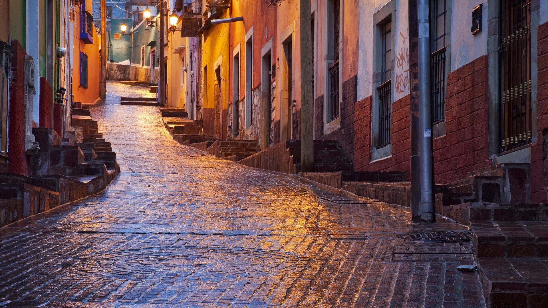 An Uphill Alley Wet After Rain Wallpaper Mexico Wallpaper Guanajuato City Wallpaper