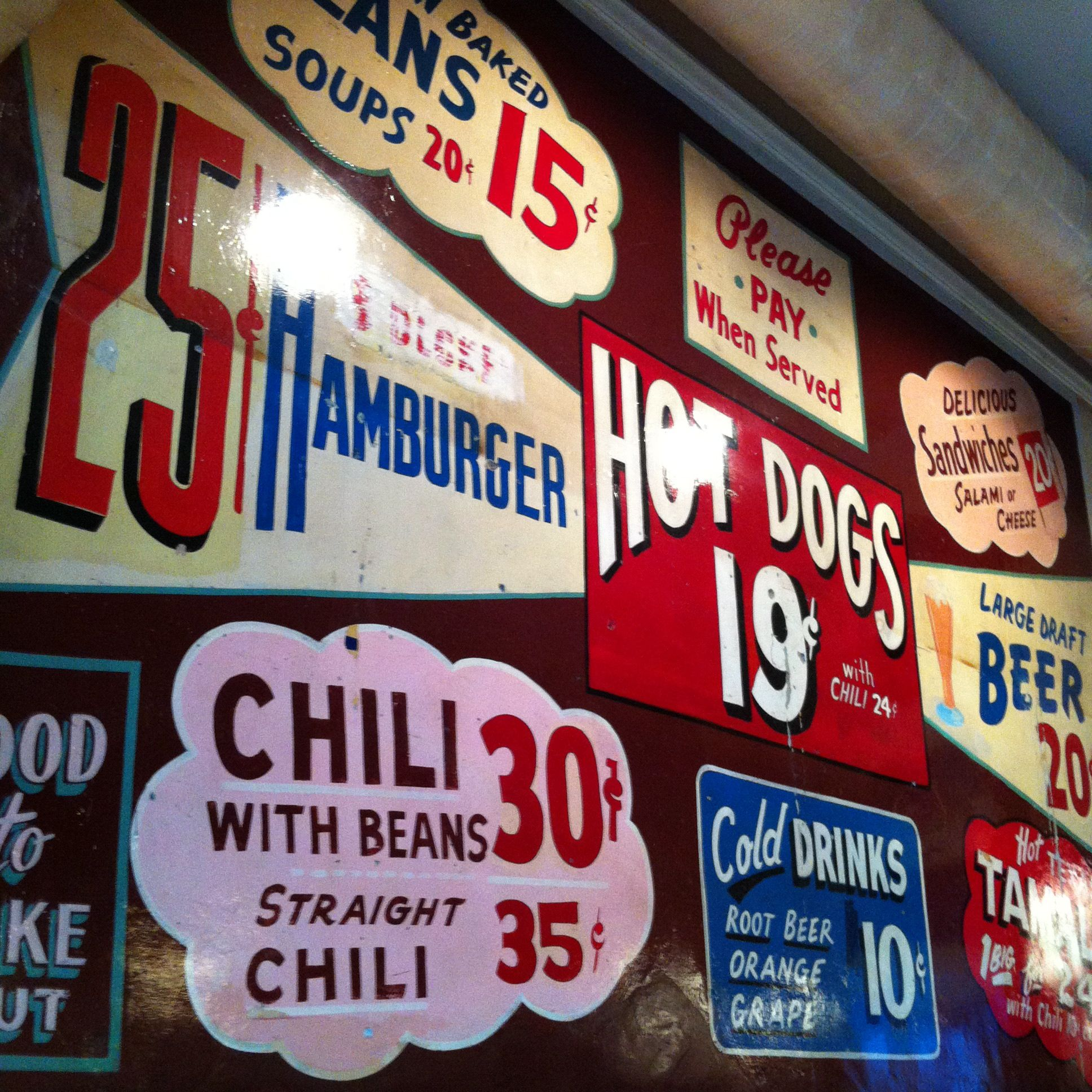 Signs at The Nickel Diner in downtown Los Angeles