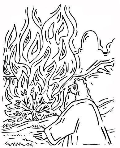 moses and burning bush coloring page bible journaling pinterest