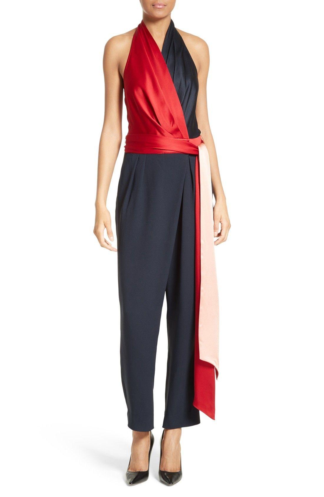 57ab6d742736 New DIANE VON FURSTENBERG Colorblock Wrap Halter Jumpsuit fashion online.    598   shop hoodress