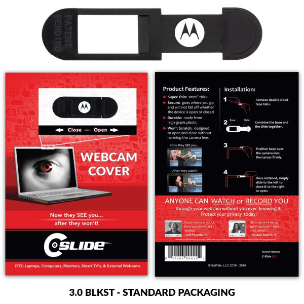 This is the HOTTEST PROMOTIONAL ITEM on the market today.  This custom branded webcam cover gives more brand impressions then any other product on the market today while also proving webcam privacy protection for your client.   The 1.0 units fit several devices like computers, smart tv's, laptops, and external webcams.   We also offer several programs like CUSTOMIZED Packaging i.e. post card or business card, and Bulk First Class Mailer campaigns.  The webcam cover is simple to use ju...