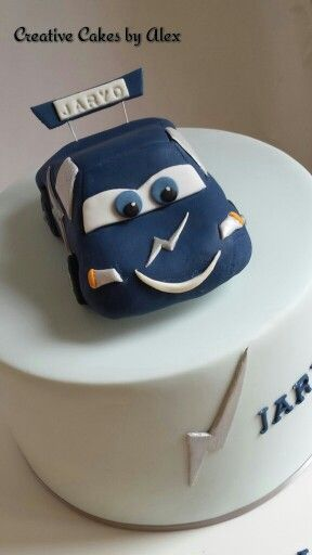 Fondant blue car 1st birthday cake boy by Creative Cakes by Alex