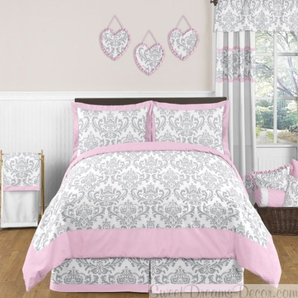 Elizabeth Designer Bedding Beautiful Damask Pattern In Gray And
