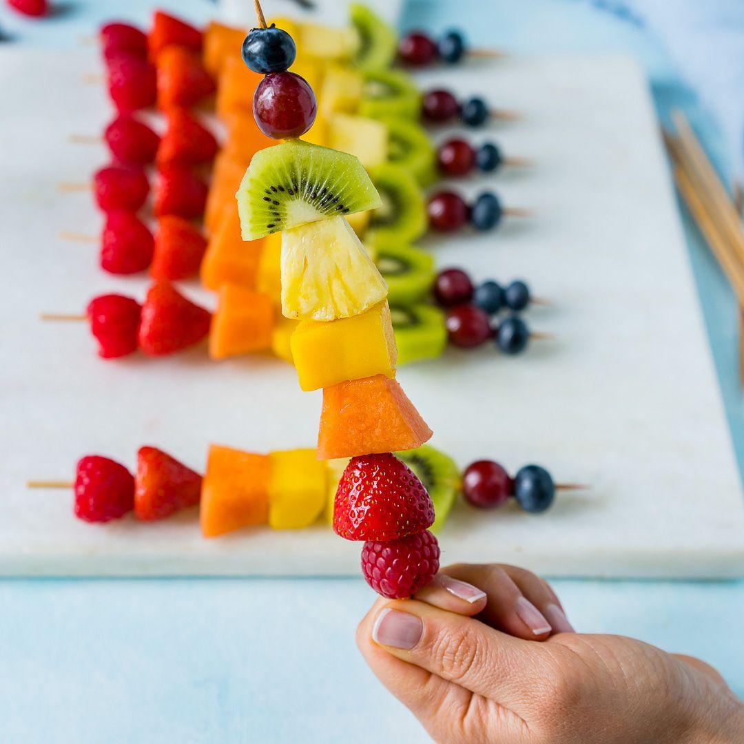 Fruit Kabobs Recipe Fruit Skewers Fruit Recipe Kids Snack Fruit Recipes Healthy Snacks For Kids Rainbow Fruit Kabobs