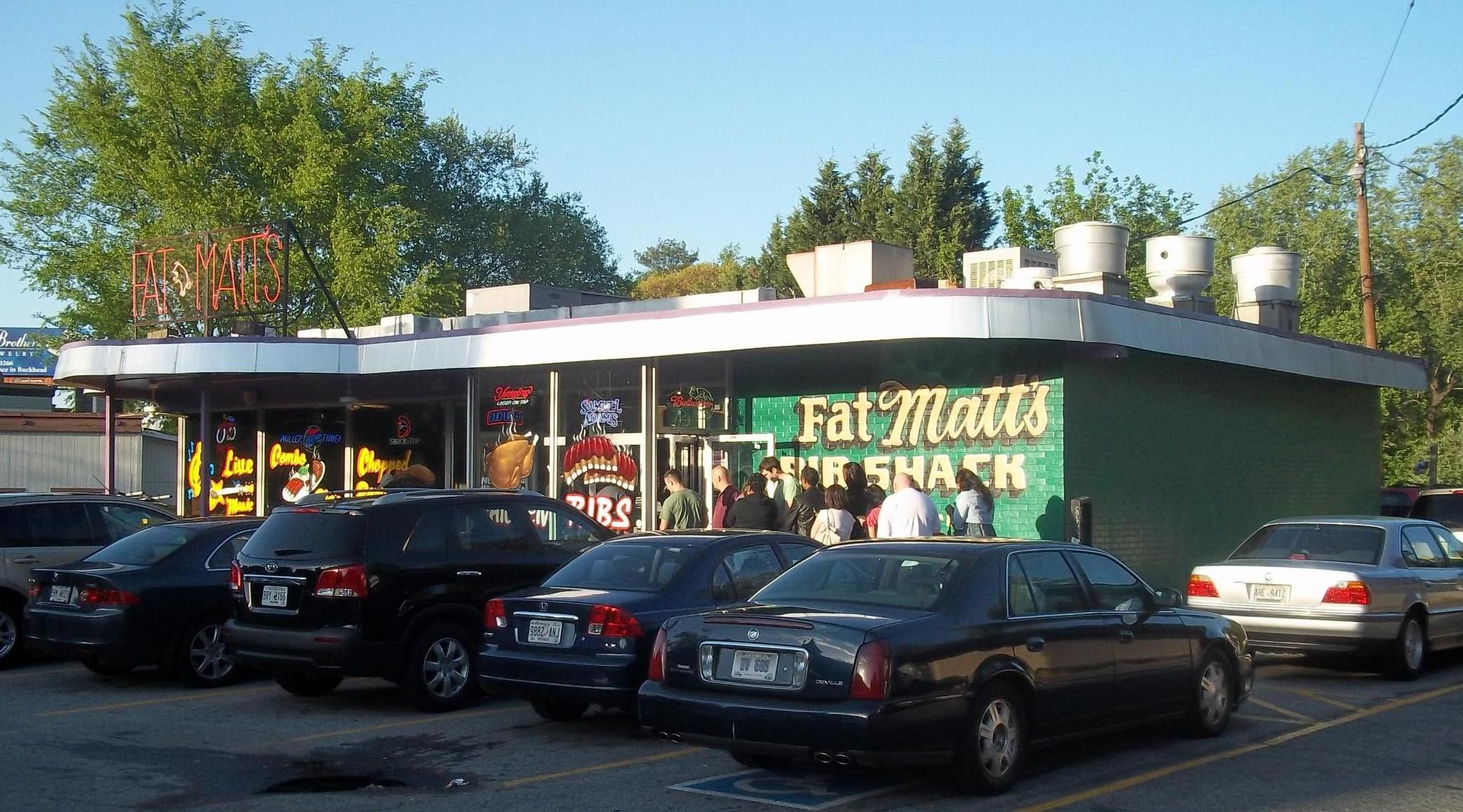 World famous Fat Matt's Rib Shack on Piedmont Avenue is a great place for BBQ and music.