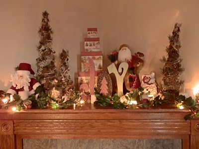 Corner Fireplace Mantle Decorated for Christmas