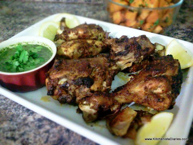 Spicy Roasted Chicken w/ Cilantro-Mint Sauce