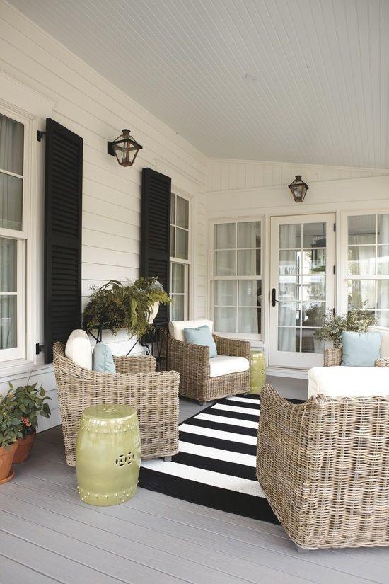 Love A Porch With Black Shutters Blackwhite Striped Rug Wicker