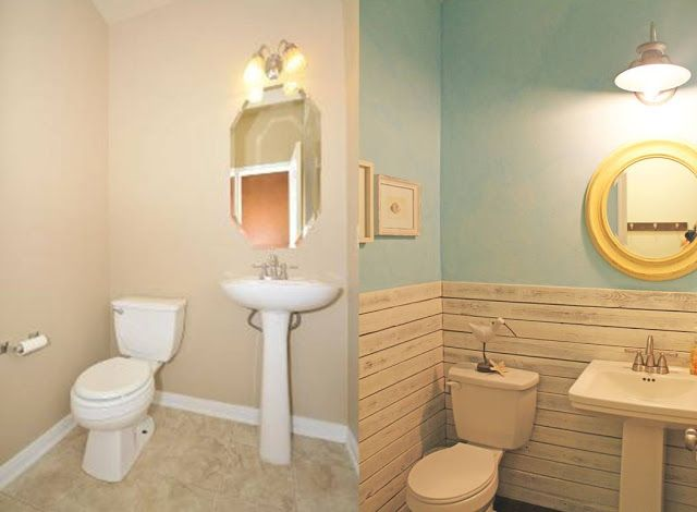 Before And After Powder Bath Makeover Beach Theme Reclaimed Wood Walls Blue Plaster Faux