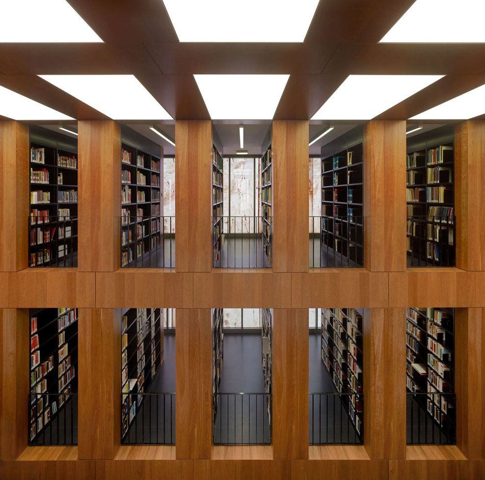 Precision in design. Interior of the Folkwang Library by Max Dudler. Photo by Stefan Müller.