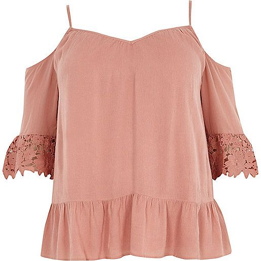 387d6347375efa Plus light pink cold shoulder lace cuff top - bardot / cold shoulder tops -  tops - women