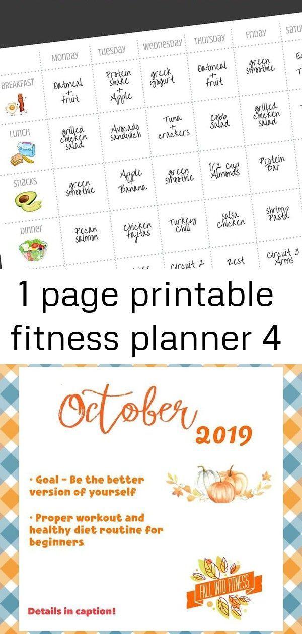 #Fitness #page #planner #printable 1 Page Printable Fitness Planner #FITNESS #Journey #Lets #october...