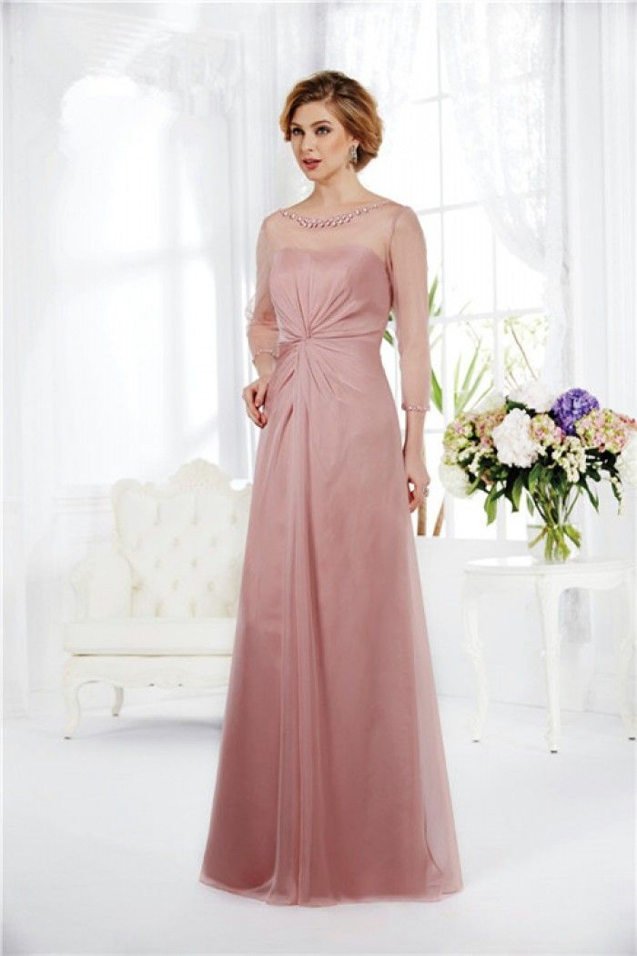 Sheer Illusion Neckline Tulle Sleeves Long Pink Chiffon Mother Of ...