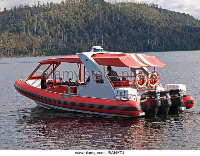 BOAT USED FOR CARRYING PASSENGERS ON TOURS OF LAKE ST CLAIR TASMANIA AUSTRALIA - Stock Image