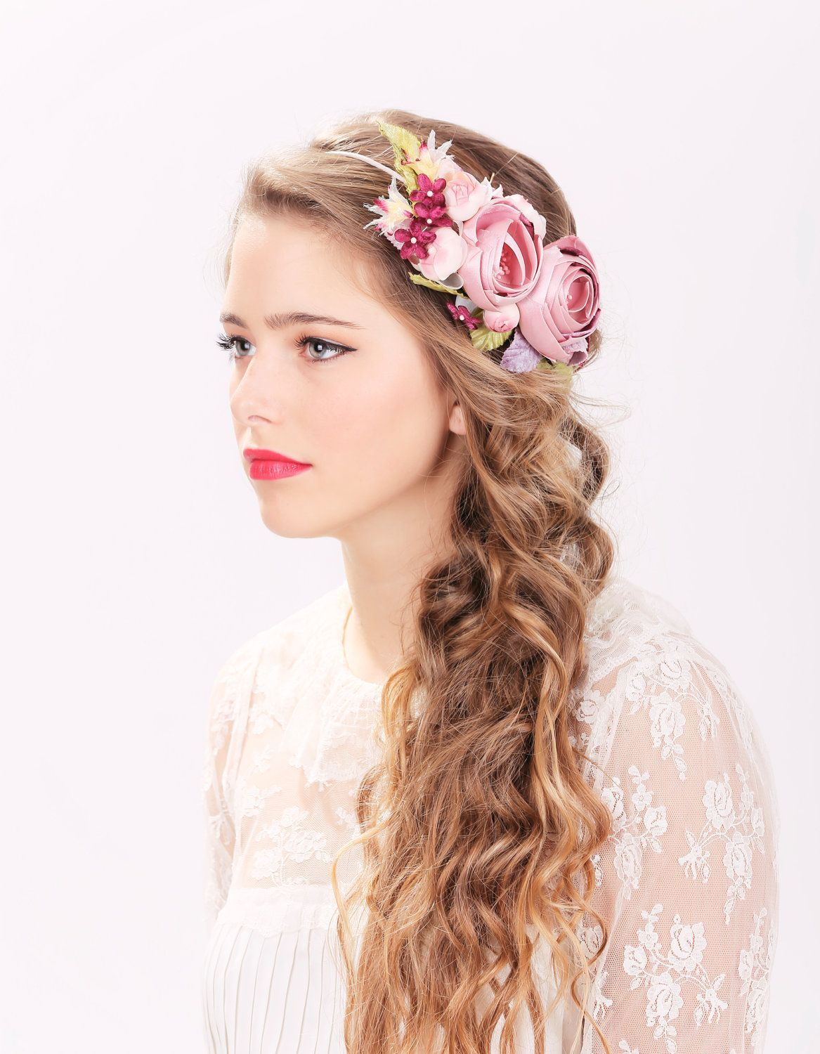 bridal flower hair crown, woodland wedding, pink flower, milinery