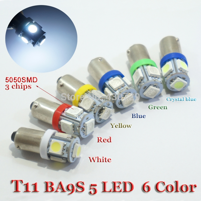 2.66$  Buy now - http://alippp.shopchina.info/go.php?t=32321929278 - 10PCS T11 BA9S T4W 363 Cold White Red Green  Yellow crystal blue LED 5050 SMD Car Styling Wedge Side Light Lamp Bulb 12V  #magazine