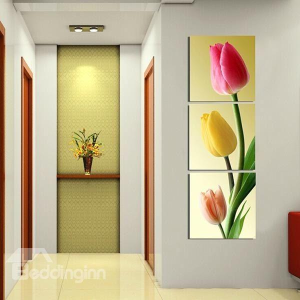 16×16in×3 Panels Tulip Pattern Vertically Hanging Canvas Waterproof ...