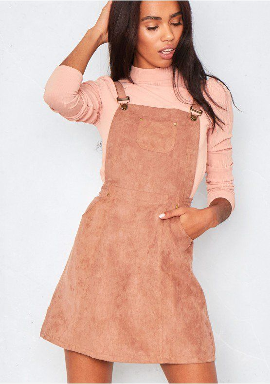 28d8a18c45d Alita Camel Suede Pinafore Dress