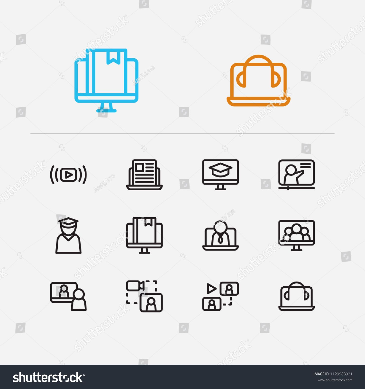 Online Education Icons Set Education E Learning And Online
