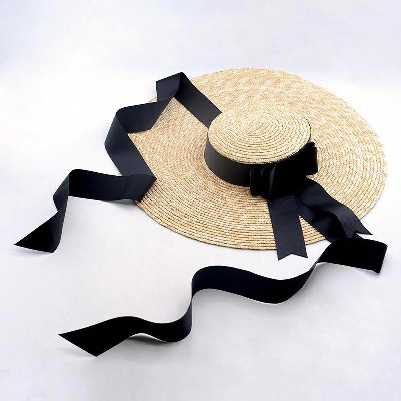 c6c5b026d04fe Vintage Wide Brim Straw Hat with Ribbon
