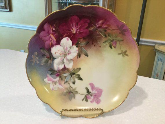 haviland limoges france handpainted pink white lilies. Black Bedroom Furniture Sets. Home Design Ideas