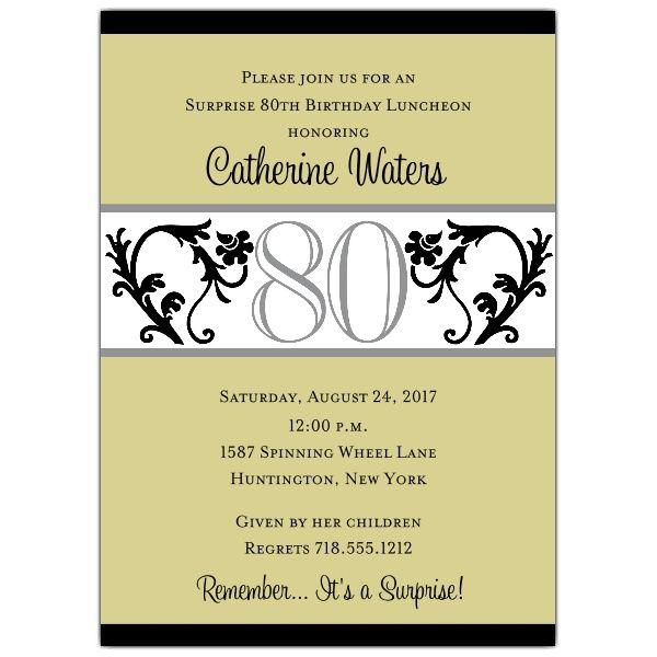 Elegant vine chartreuse 80th birthday invitations 70th birthday elegant vine chartreuse 80th birthday invitations filmwisefo Images
