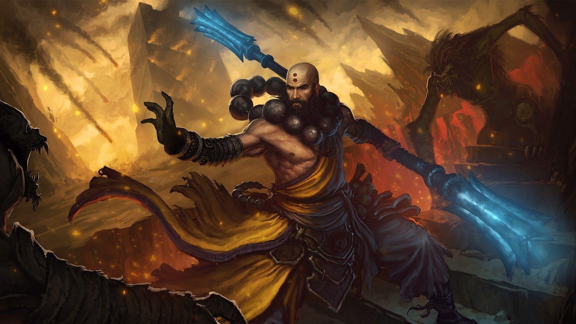 Download Diablo 3 Monk Staff Magic Fire Bald Wallpaper Kuff Games Diablo Artwork Game Art