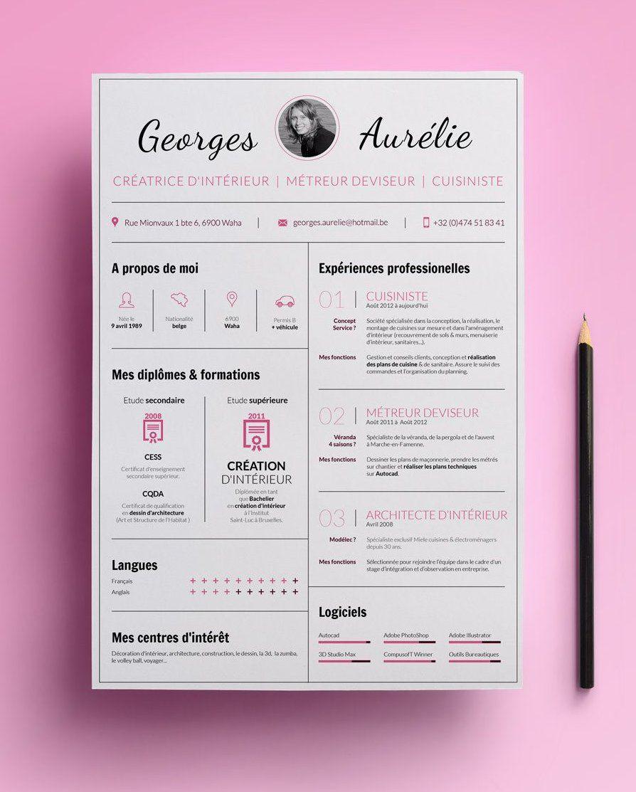 C V De Georges Aurelie Une Jeune Decoratrice D Interieure Et Cuisiniste C V Creative Cv Cv Resum Resume Design Creative Creative Cv Creative Cv Template