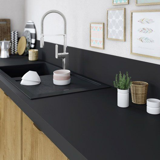 Plan De Travail Stratifie Mat Edition Noir Mat L 315 X P 65 Cm Ep 58 Mm Cuisine Noire Plan De Travail Cuisine Idee Deco Cuisine