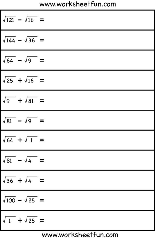 Kvadratnyj Koren Algebra Worksheets Square Roots Free Math Worksheets
