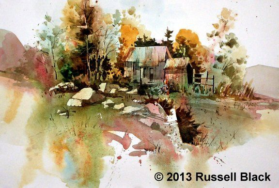 Tiny Cabin Watercolor Russell Black Nature Watercolor
