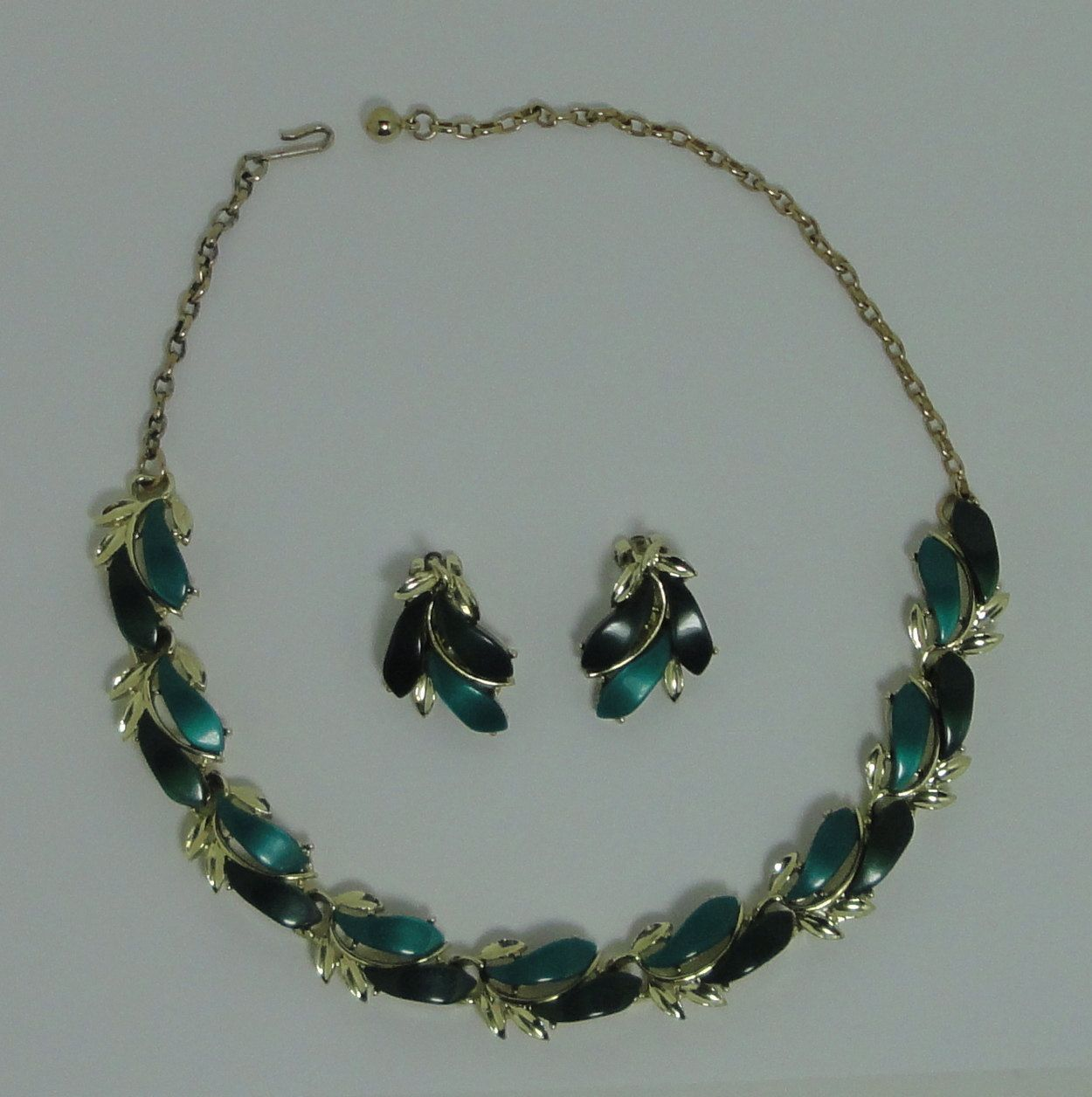 Gold Tone Blue CelluloidThermoset Necklace and Bracelet Set