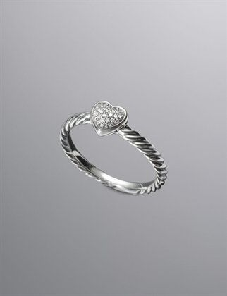 Diamond & Sterling Silver Ring by David Yurman. This would b so cute as a gift from a bf 4 a holiday or anniversary!!!!!