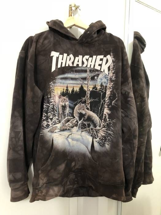 c232059596f0 Thrasher  RARE  13 Wolves Hoodie in Black Tie Dye by Thrasher. Size US M   EU  48-50   2