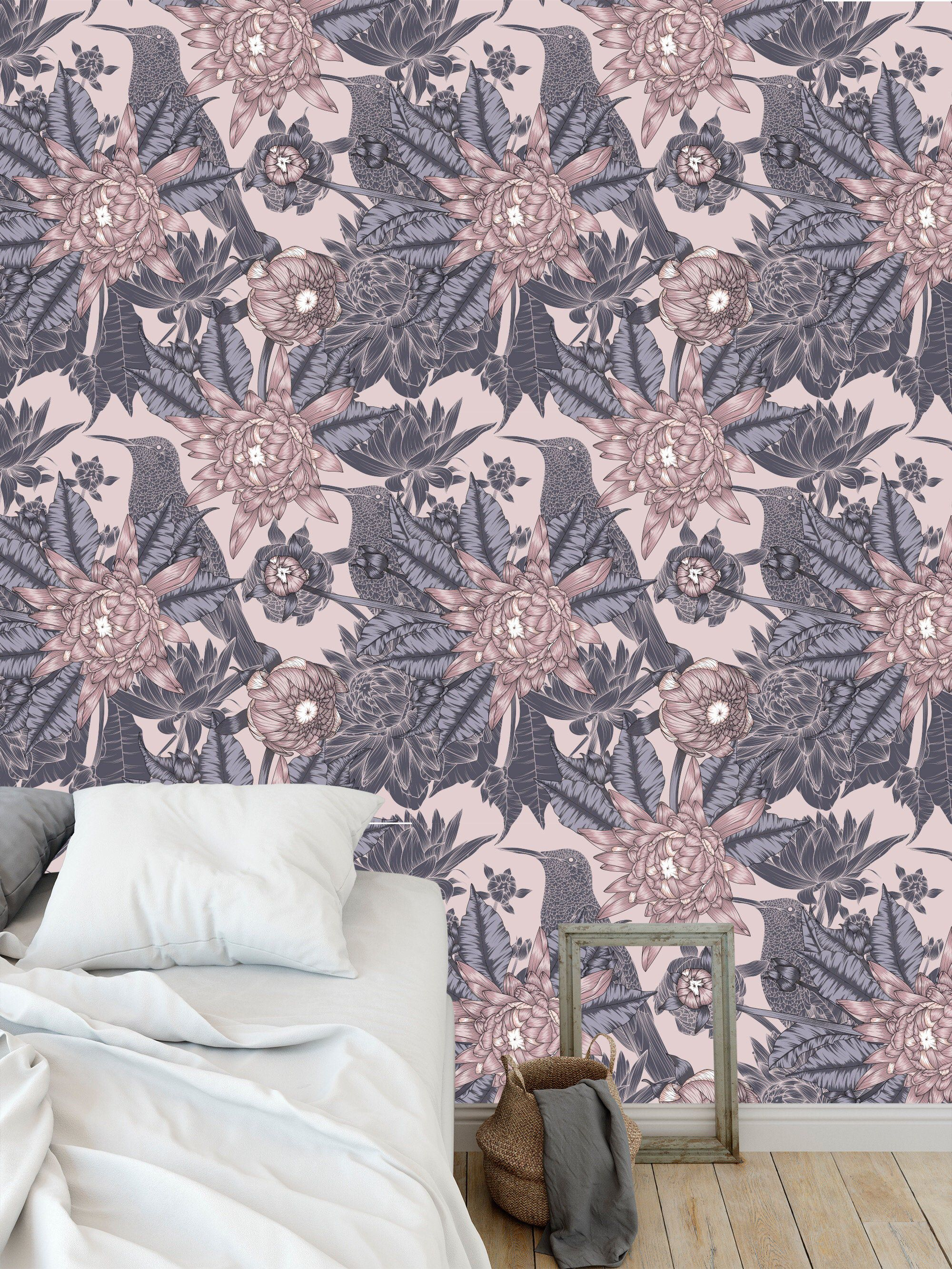 Removable peel and stick wallpaper/ vintage pink purple