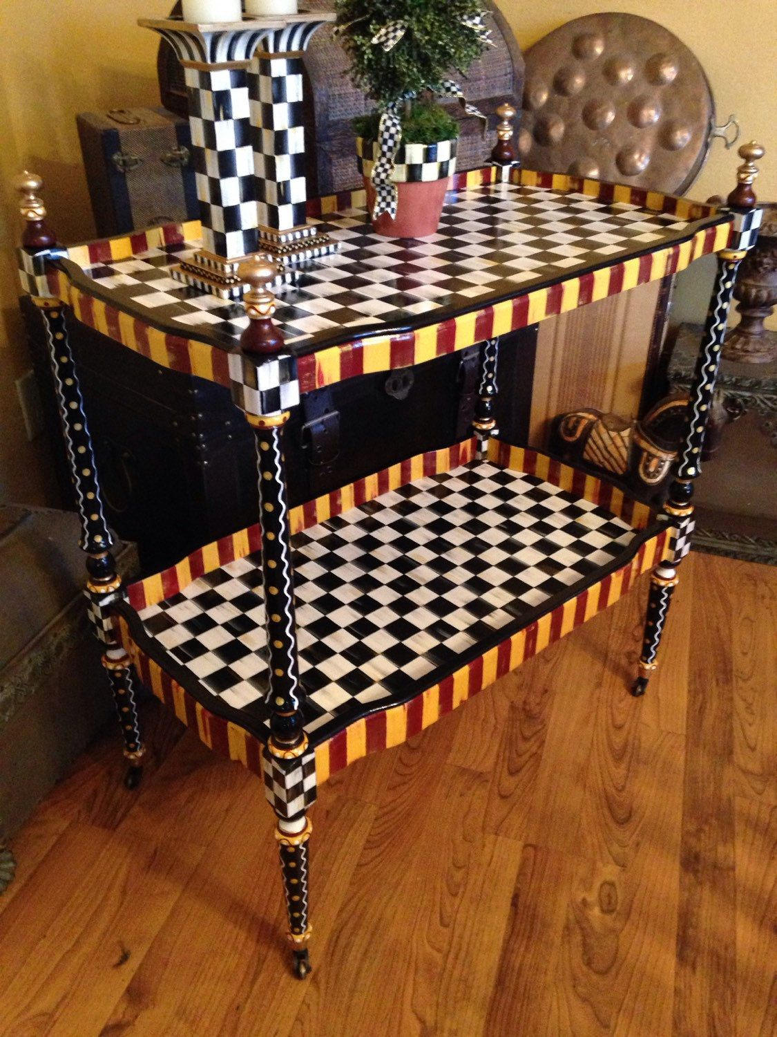 whimsical furniture and decor. Hand Painted Black \u0026 White Checks Table Bar Cart Colorful Whimsical Furniture And Decor