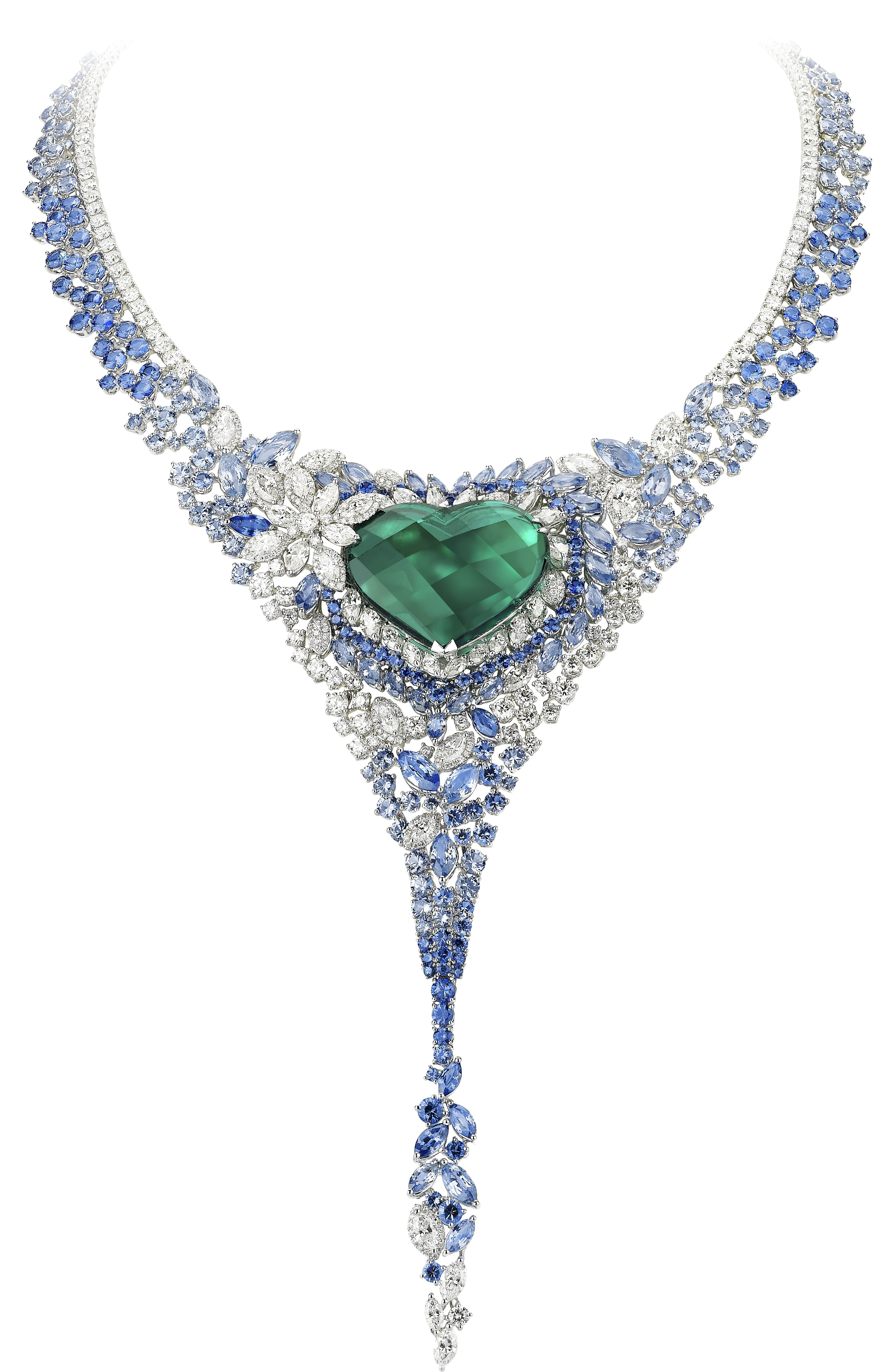 AVAKIAN emerald sapphires and diamonds necklace