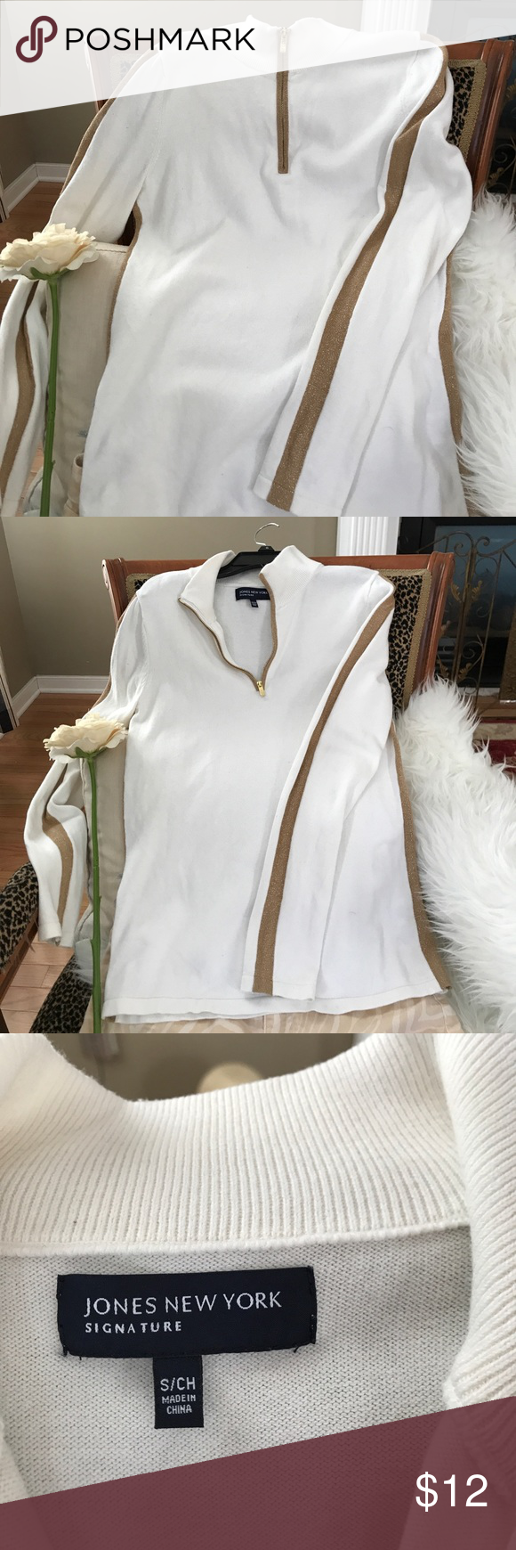 Jones New York sweater | Gold stripes, White sweaters and Customer ...