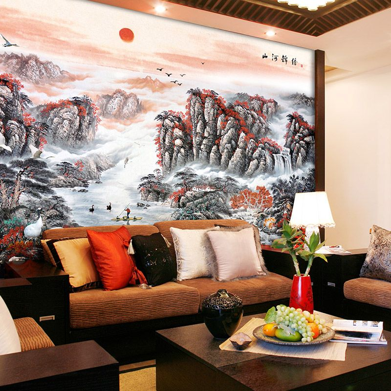 Sofa background wall mural wallpaper modern chinese style wallpaper ...